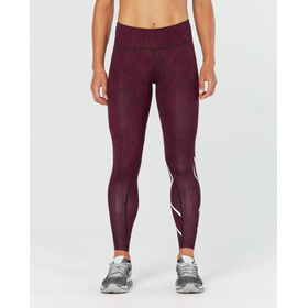 2XU Print Mid-Rise Compression Tights Women, red/white/red
